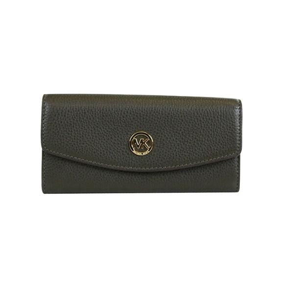 NEW Michael Kors Fulton Leather Slim Flap Wallet D